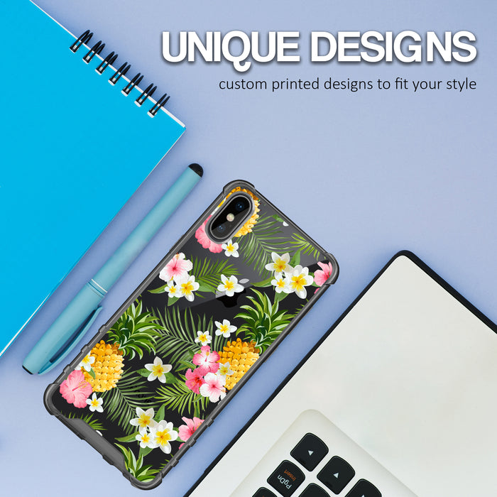 Apple iPhone X Case [Clear/ Grey Bumper][Tropical Pineapple]