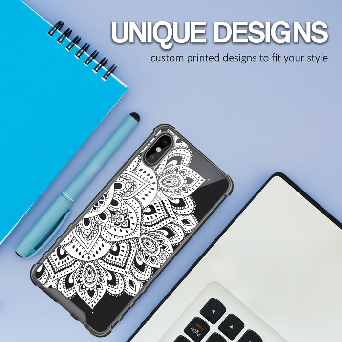 Apple iPhone X Case [Clear/ Grey Bumper][White Mandalas]