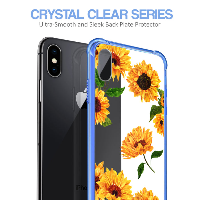Apple iPhone X Case [Clear/ Blue Bumper][Sunflower]
