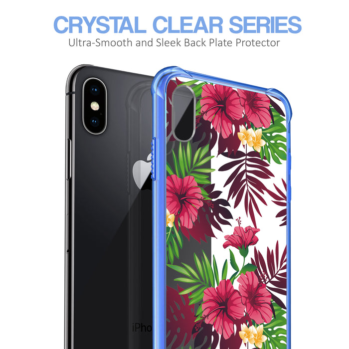 Apple iPhone X Case [Clear/ Blue Bumper][Tropical Night]