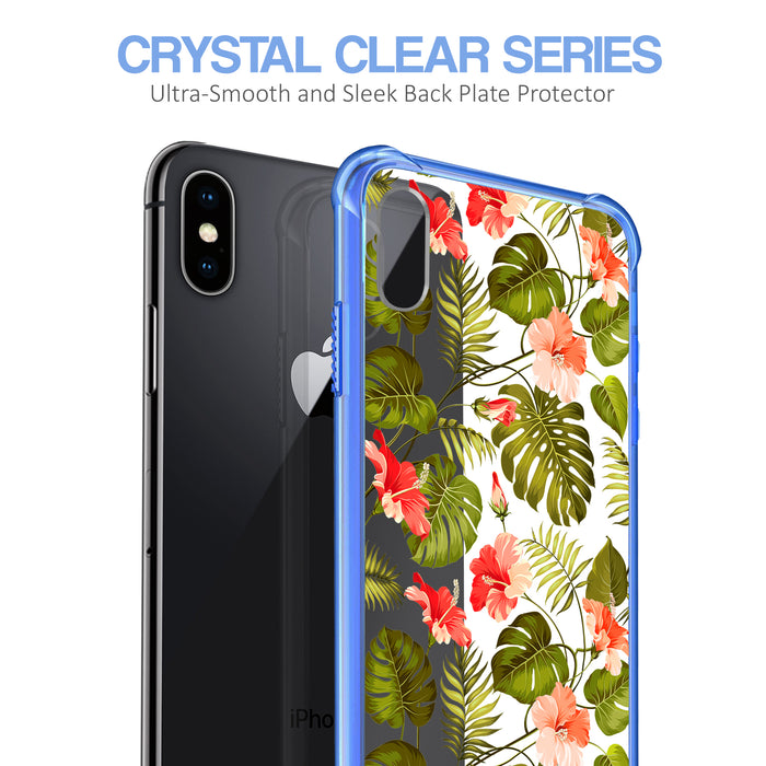 Apple iPhone X Case [Clear/ Blue Bumper][Orange Tropic]