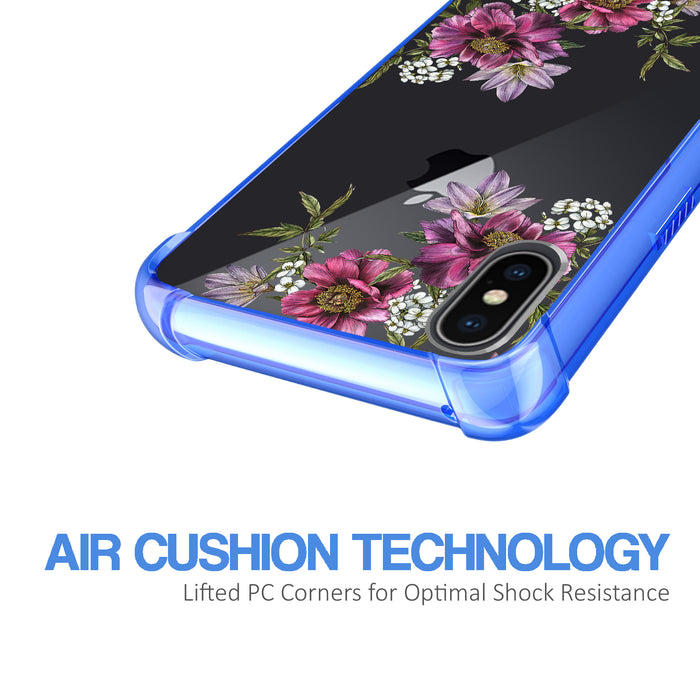 Apple iPhone X Case [Clear/ Blue Bumper][Purple Flower]