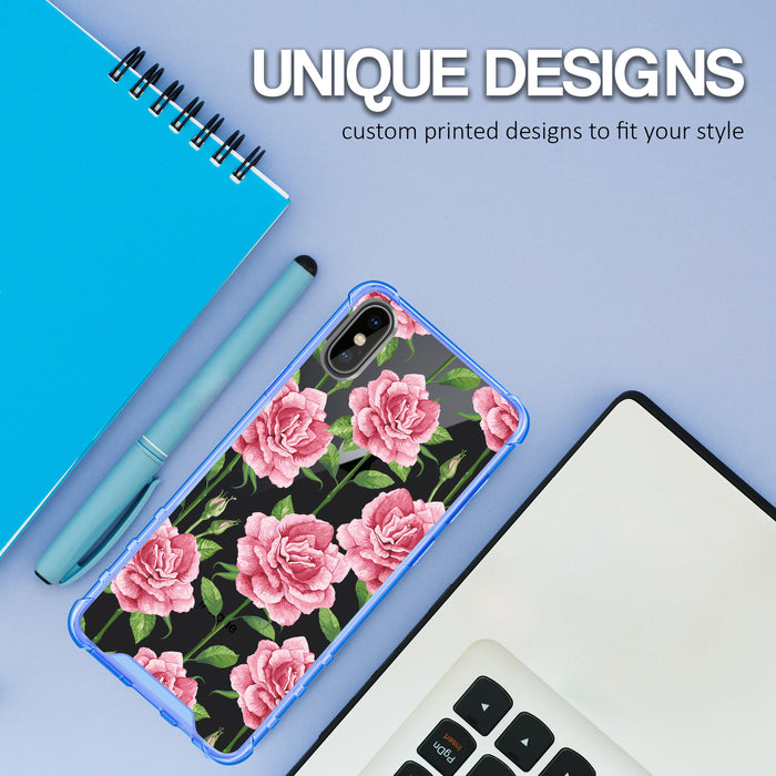 Apple iPhone X Case [Clear/ Blue Bumper][Pink Vine Flower]