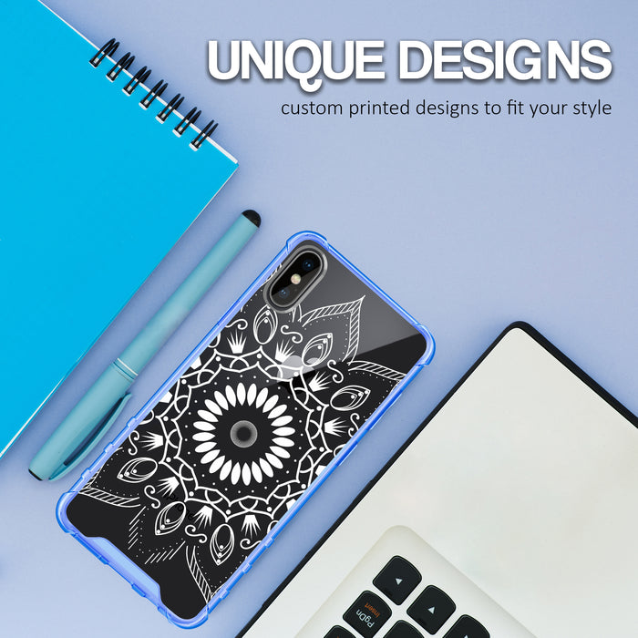 Apple iPhone X Case [Clear/ Blue Bumper][Black Mandala]