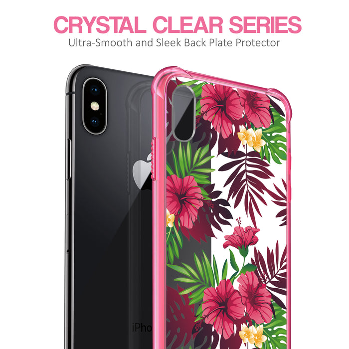 Apple iPhone X Case [Clear/ Pink Bumper][Tropical Night]