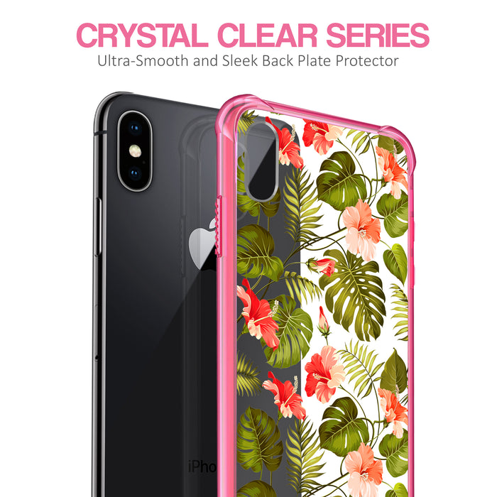 Apple iPhone X Case [Clear/ Pink Bumper][Orange Tropic]