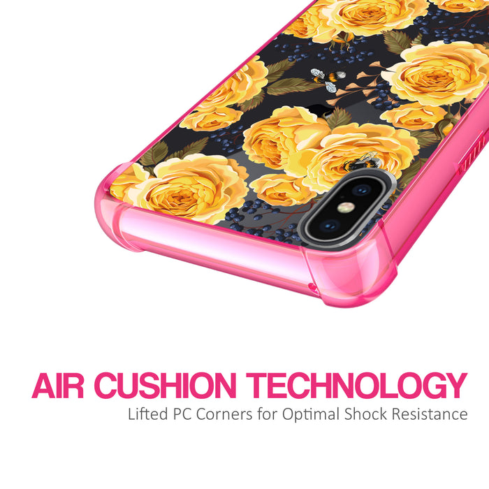 Apple iPhone X Case [Clear/ Pink Bumper][Bumble Bee Roses]