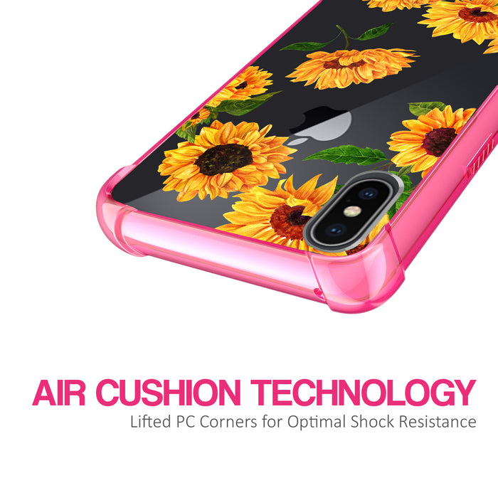 Apple iPhone X Case [Clear/ Pink Bumper][Sunflower]