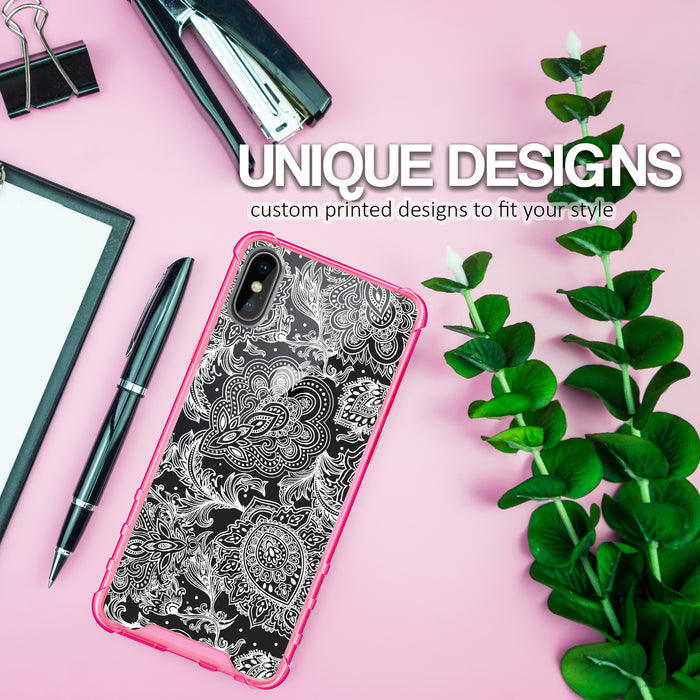 Apple iPhone X Case [Clear/ Pink Bumper][Black Henna]