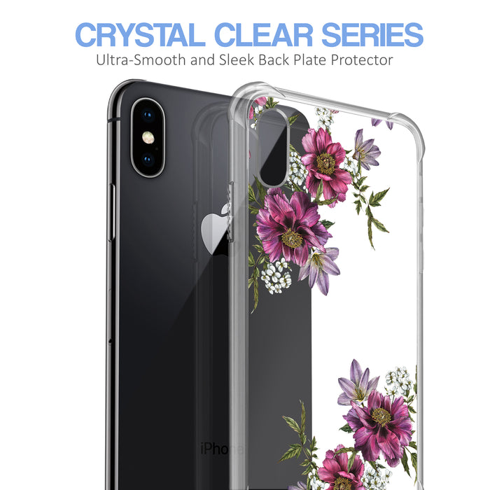 Apple iPhone X Case [Ultra Clear][Purple Flower]