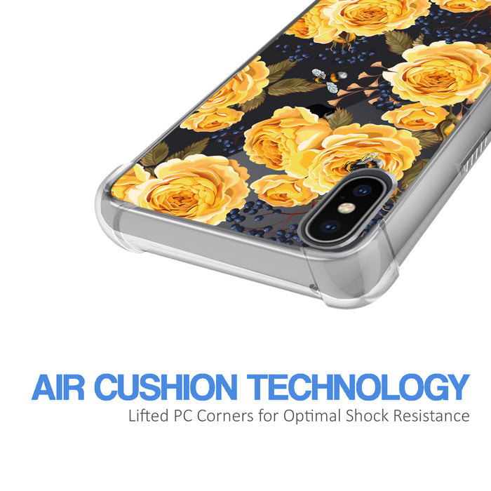 Apple iPhone X Case [Ultra Clear][Bumble Bee Roses]