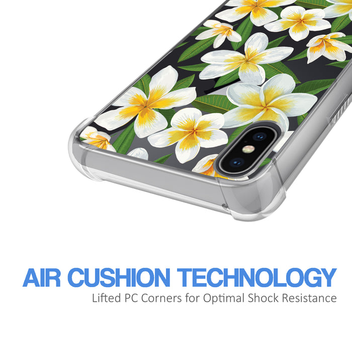 Apple iPhone X Case [Ultra Clear][White Hawaiian Flowers]