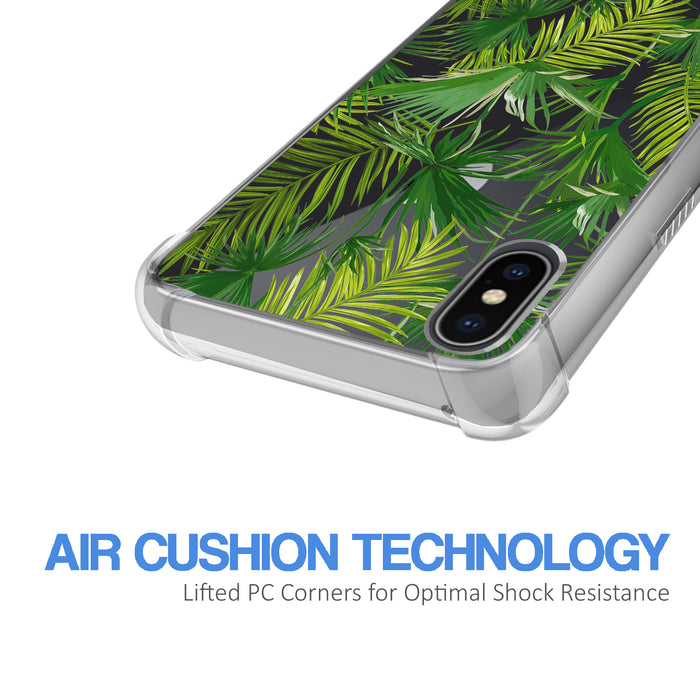 Apple iPhone X Case [Ultra Clear][Green Leaves]