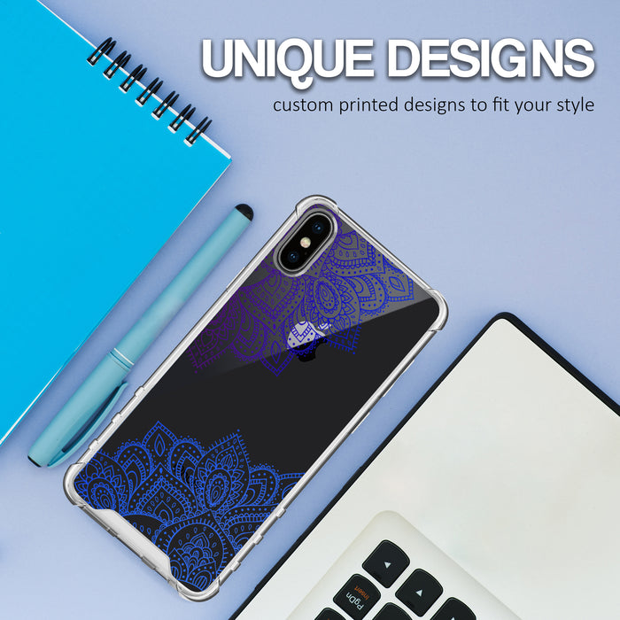 Apple iPhone X Case [Ultra Clear][Blue Mandala]