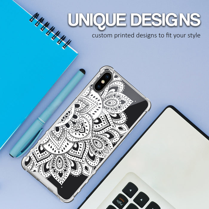Apple iPhone X Case [Ultra Clear][White Mandalas]