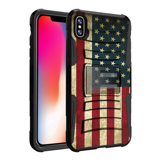 Apple iPhone Xs Max Case [Holster][USA Flag]