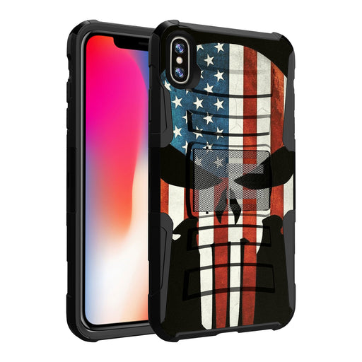 Apple iPhone Xs Max Case [Holster][USA Flag Skull]