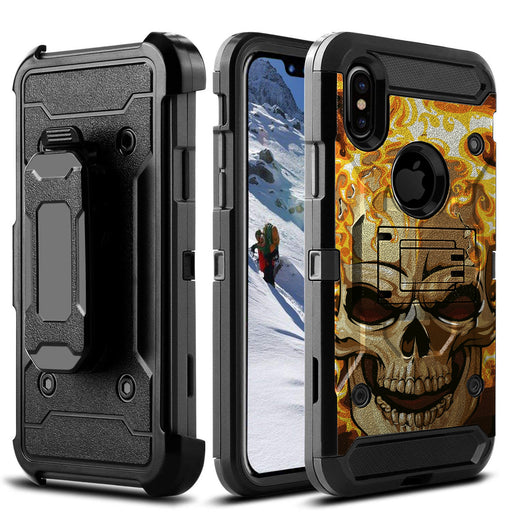 Apple iPhone Xs Max  Case [Max Guard][Red Fire Skull]