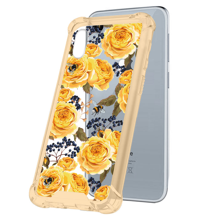 Apple iPhone Xr Case [Yellow/Clear][Bumble Bee Roses]