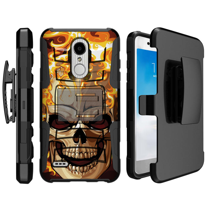 LG K30  Case [Holster][Red Fire Skull]