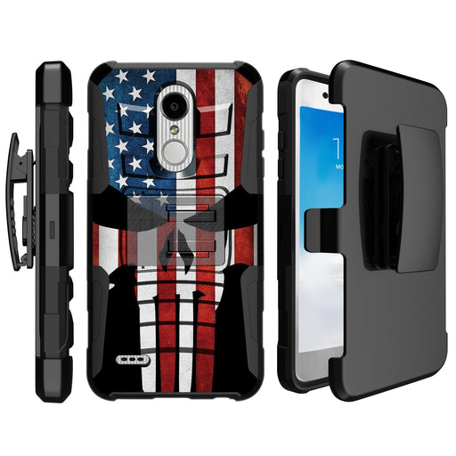 LG K30  Case [Holster][USA Flag Skull]