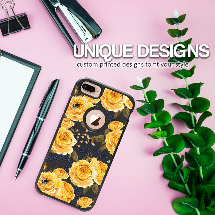 Apple iPhone 8 Plus Case [Slim Shield][Bumble Bee Roses]