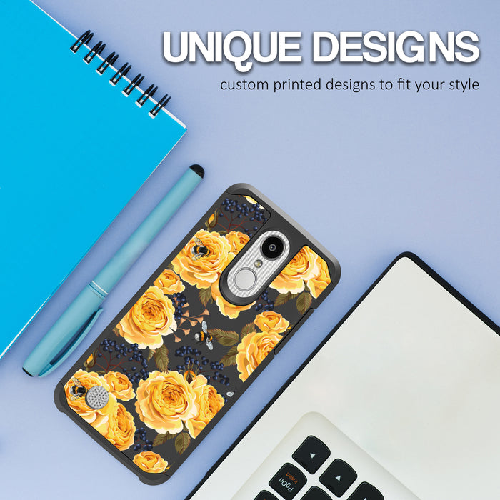 LG Aristo Case [Slim Shield][Bumble Bee Roses]