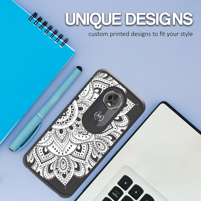 Motorola Moto E5 Plus  Case [Slim Shield][White Mandalas]