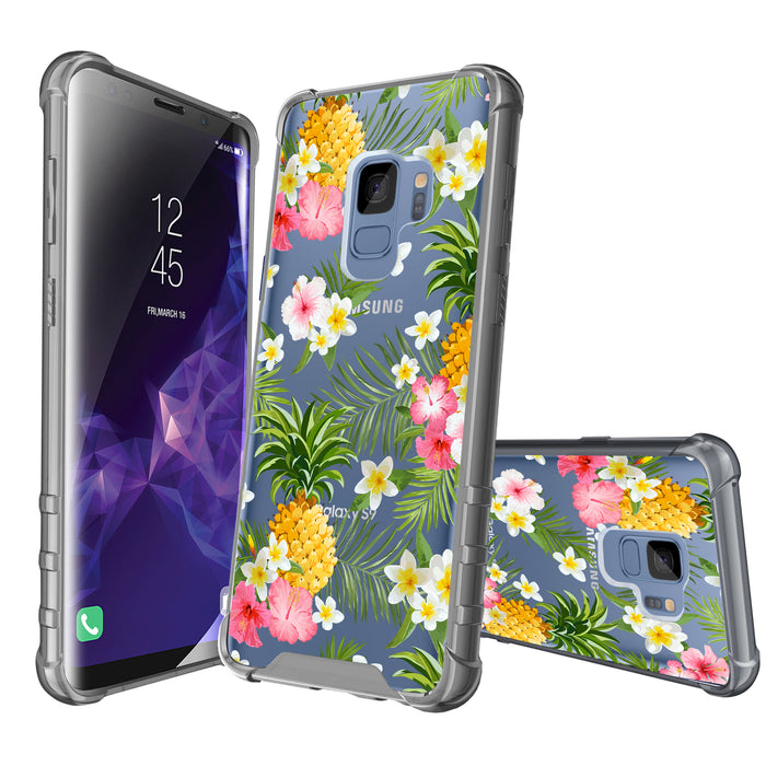 Samsung Galaxy S9 Case [Clear/ Gray Bumper][Tropical Pineapple]