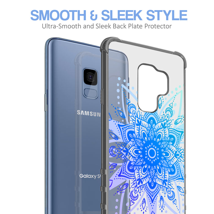 Samsung Galaxy S9 Case [Clear/ Gray Bumper][Heart Mandala]
