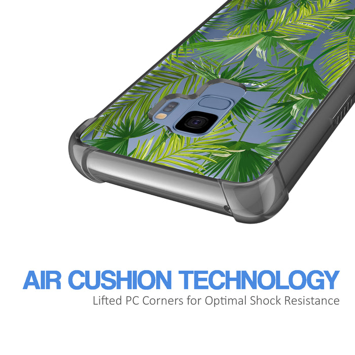 Samsung Galaxy S9 Case [Clear/ Gray Bumper][Green Leaves]