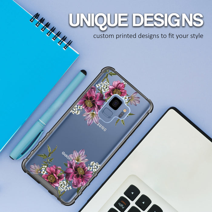 Samsung Galaxy S9 Case [Clear/ Gray Bumper][Purple Flower]