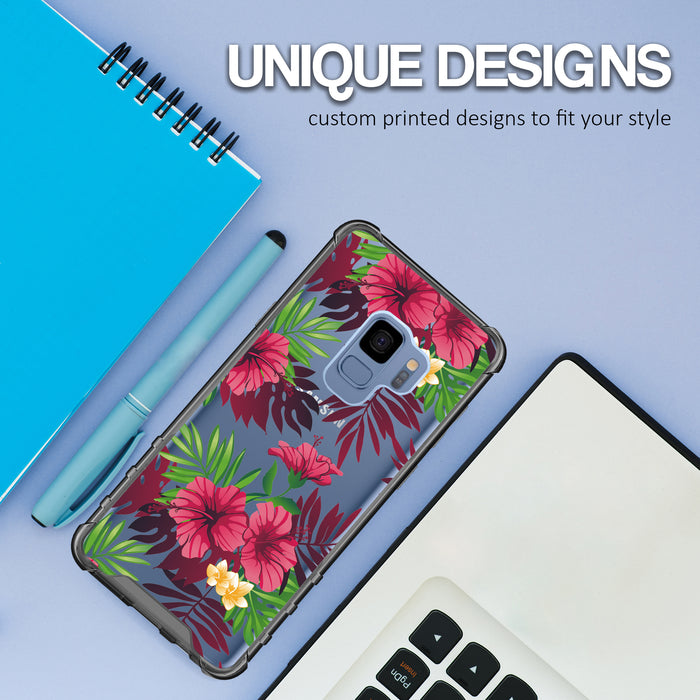 Samsung Galaxy S9 Case [Clear/ Gray Bumper][Tropical Night]