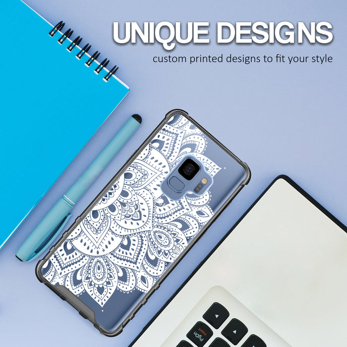 Samsung Galaxy S9 Case [Clear/ Gray Bumper][White Mandalas]