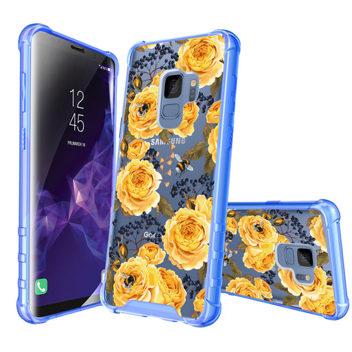 Samsung Galaxy S9 Case [Clear/ Blue Bumper][Bumble Bee Roses]