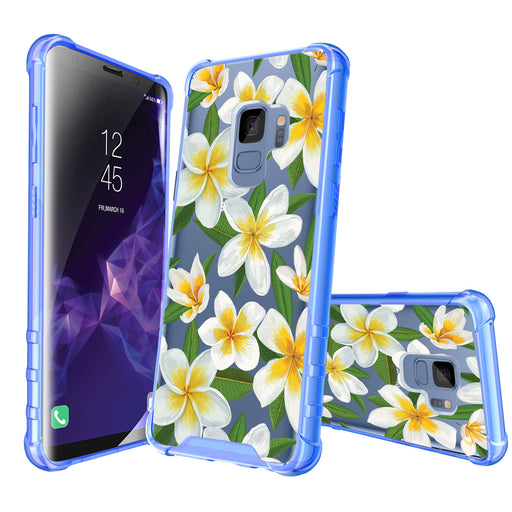 Samsung Galaxy S9 Case [Clear/ Blue Bumper][White Hawaiian Flowers]