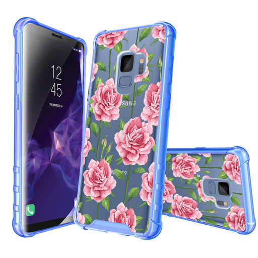 Samsung Galaxy S9 Case [Clear/ Blue Bumper][Pink Vine Flower]