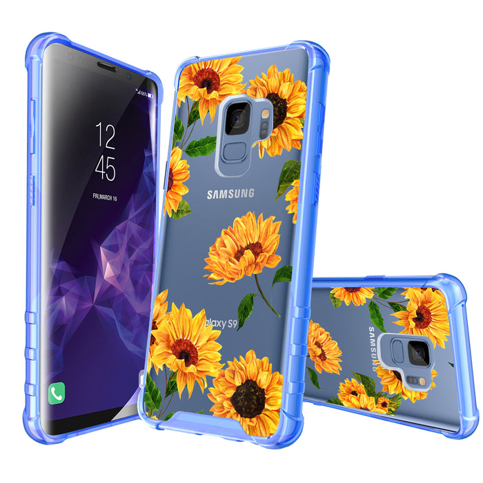 Samsung Galaxy S9 Case [Clear/ Blue Bumper][Sunflower]