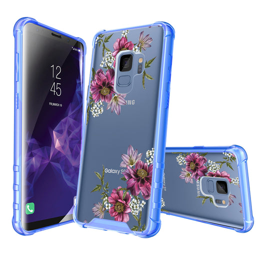 Samsung Galaxy S9 Case [Clear/ Blue Bumper][Purple Flower]