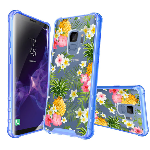 Samsung Galaxy S9 Case [Clear/ Blue Bumper][Tropical Pineapple]