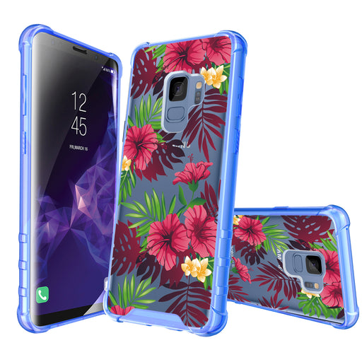 Samsung Galaxy S9 Case [Clear/ Blue Bumper][Tropical Night]