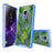 Samsung Galaxy S9 Case [Clear/ Blue Bumper][Green Leaves]