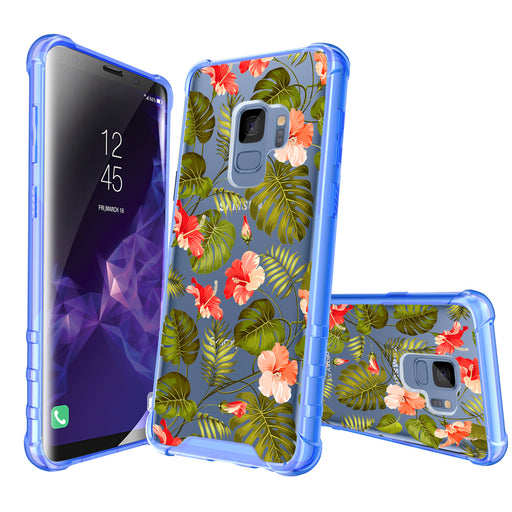 Samsung Galaxy S9 Case [Clear/ Blue Bumper][Orange Tropic]