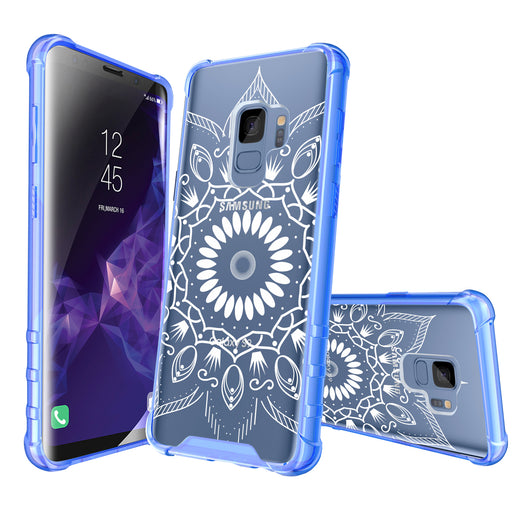 Samsung Galaxy S9 Case [Clear/ Blue Bumper][Black Mandala]