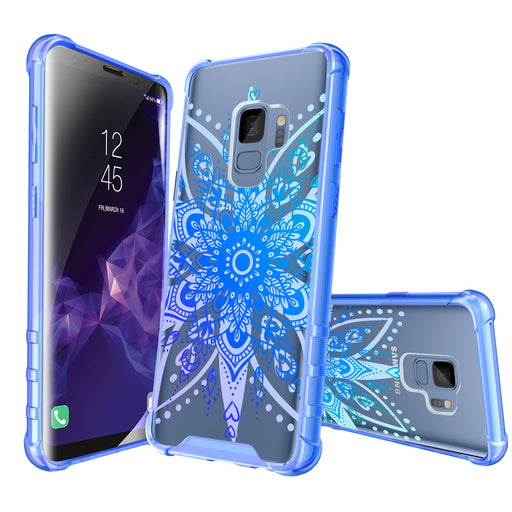 Samsung Galaxy S9 Case [Clear/ Blue Bumper][Heart Mandala]