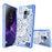 Samsung Galaxy S9 Case [Clear/ Blue Bumper][White Mandalas]