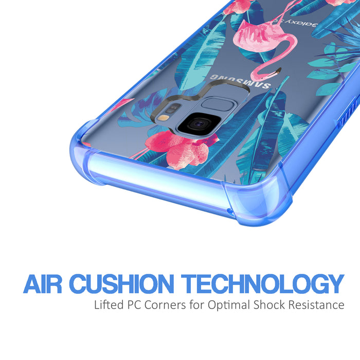 Samsung Galaxy S9 Case [Clear/ Blue Bumper][Flamingos]
