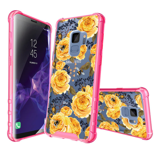 Samsung Galaxy S9 Case [Clear/ Pink Bumper][Bumble Bee Roses]