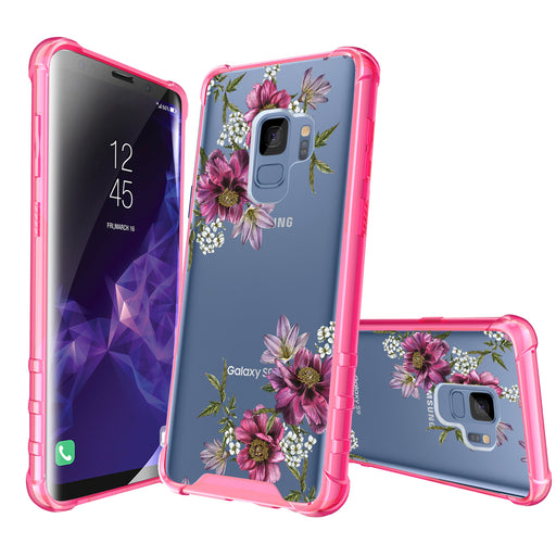 Samsung Galaxy S9 Case [Clear/ Pink Bumper][Purple Flower]