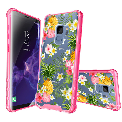 Samsung Galaxy S9 Case [Clear/ Pink Bumper][Tropical Pineapple]